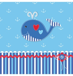 Baby background with cute whale vector image vector image