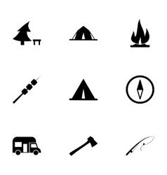 black camping icon set vector image vector image