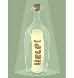 Bottle of help vector image vector image