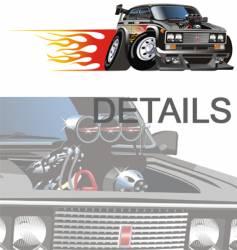 cartoon hotrod car vector image vector image