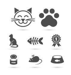 Cute cat icon symbol set on white vector image