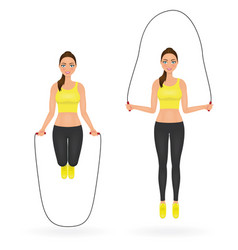 fit girl doing exercises with jumping rope woman vector image