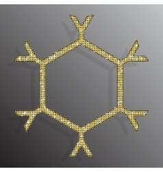 Frame Gold Sequins Snowflake Glitter Sparkle vector image