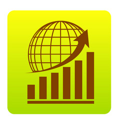growing graph with earth brown icon at vector image