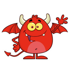 happy red devil cartoon character waving vector image vector image