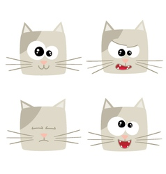 Icons of cute cat characters vector image vector image