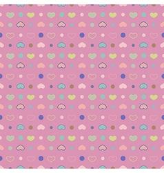 Seamless pattern Polka dot with circles and hearts vector image