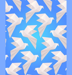 seamless texture with white origami doves on a vector image