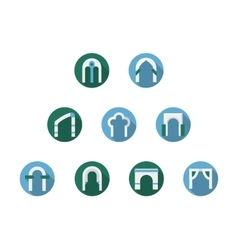 Set of arched frames flat round icons vector image vector image