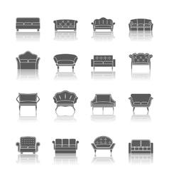 Sofa icon black vector image vector image