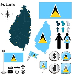 St Lucia map vector image vector image