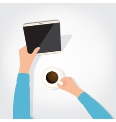 The person using the digital tablet ipad style vector image vector image