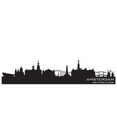 Amsterdam Netherlands skyline Detailed silhouette vector image vector image