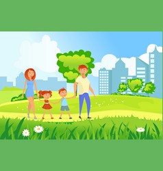 happy family walking vector image