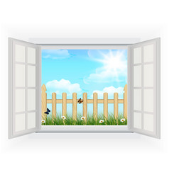 Open window with Spring background vector image