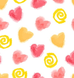 seamless watercolor hearts and swirls pattern for vector image