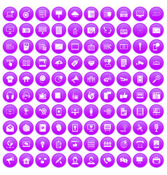 100 information technology icons set purple vector image