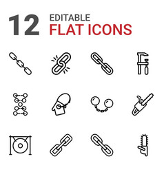12 chain icons vector