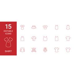 15 shirt icons vector image