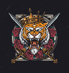 Aggressive tiger head in royal crown vector