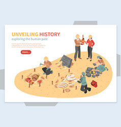 archaeological exploration isometric concept vector image