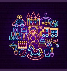 Baby toys neon concept vector