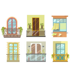 balconies in various styles front view set vector image