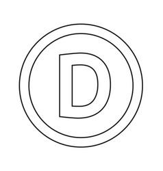 basic font for letter d icon design vector image