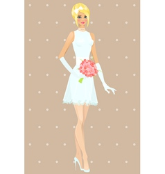 Beautiful girl in wedding dress vector image vector image