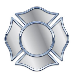 blank fire dept logo base silver with chrome trim vector image