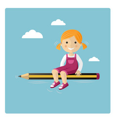 blonde girl flying in a pencil through the sky vector image