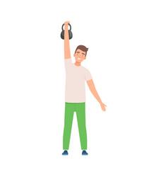 Brunette man lifts a kettlebell vector