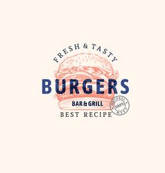 burger emblem with text in sketch style vector image