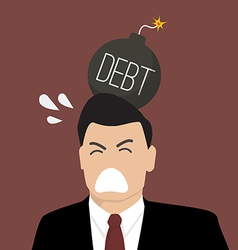 Businessman with debt bomb on his head vector