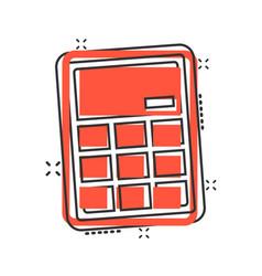 Calculator icon in comic style calculate cartoon vector