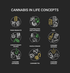 cannabis chalk rgb color concept icons set vector image