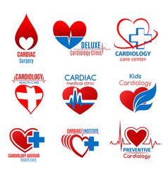 Cardiology medicine and cardiac surgery symbol vector