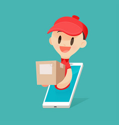 cartoon delivery man brings a goods to a customer vector image