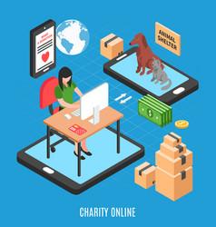 charity online isometric design concept vector image