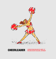 Cheerleader dances with pom poms outline vector