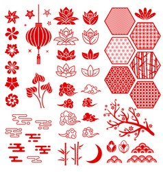 Chinese new year elements festive oriental asian vector