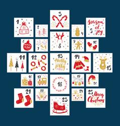 christmas advent calendar hand drawn elements vector image