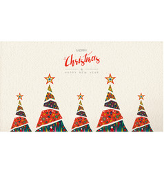 Christmas and new year folk art greeting card vector