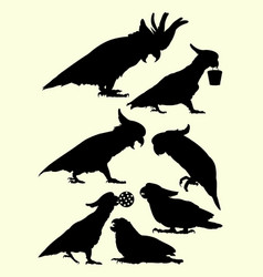 cockatoo birds animal silhouette vector image