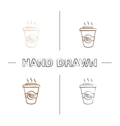 coffee to go hand drawn icons set vector image