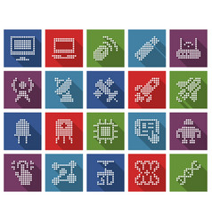 Collection square dotted icons high technology vector