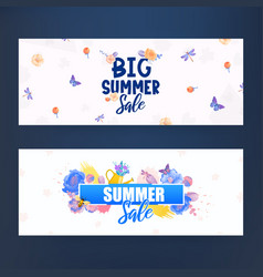 Colorful flowers and text lettering ad banners vector