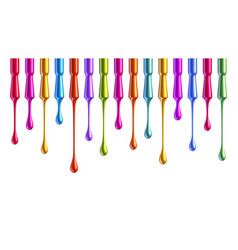 Colorful nail polish brushes with falling drops vector