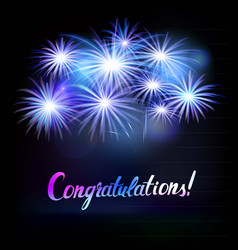 congratulations word with fireworks vector image