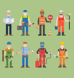 Construction worker wearing mechanic people yellow vector